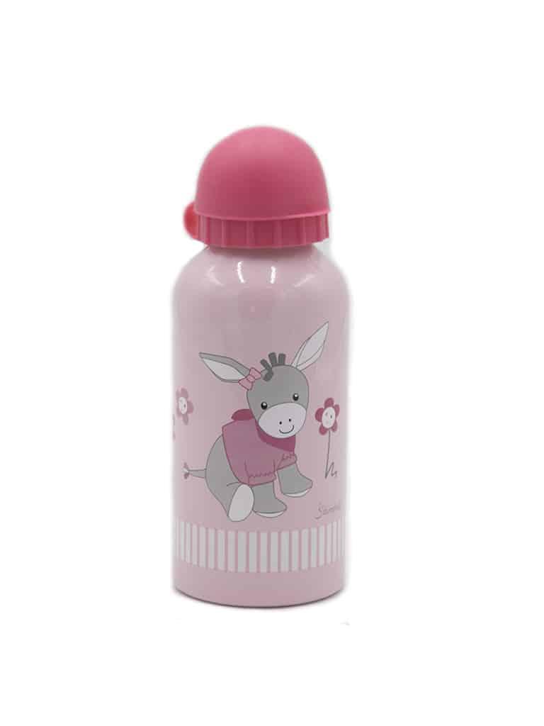 Borraccia rosa da bambina con stampa asinello colorato