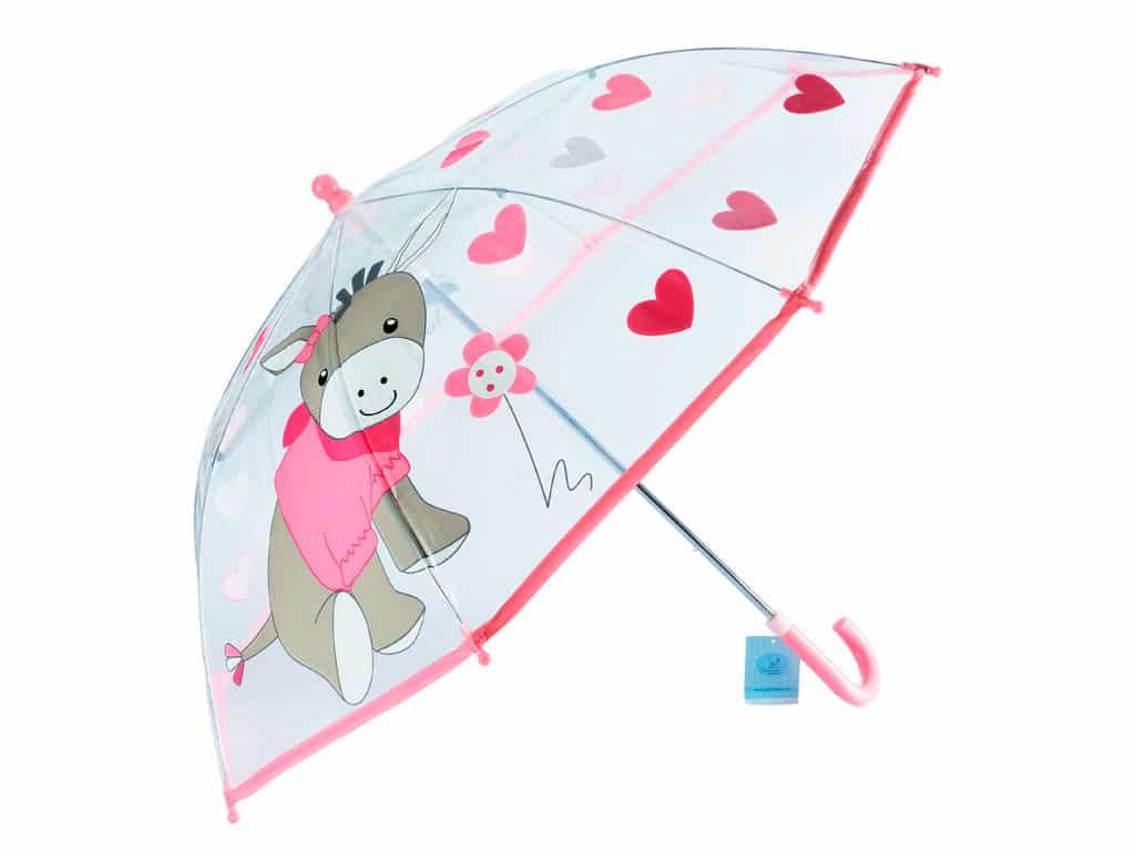 Ombrello rosa e trasparente da bambina con stampa disegno asinello