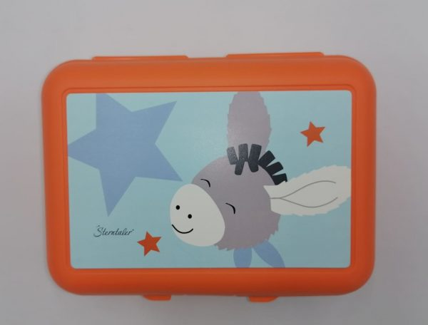 Orange plastic lunch box with donkey drawing and internal partition. Sanificable. Size 19x14x7,5 cm