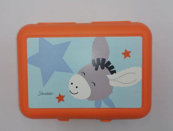 Scatola porta merenda arancione in plastica con disegno asinelli e divisorio interno, igienizzabile–dimensioni 19x14x7,5 cm