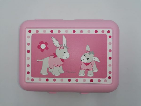 Pink plastic lunch box with donkey drawing and internal partition. Sanificable. Size 19x14x7,5 cm