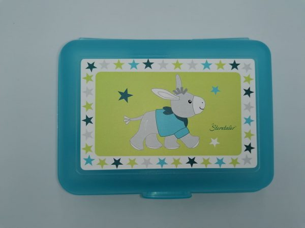 Blue plastic lunch box with donkey drawing and internal partition. Sanificable. Size 18x13x7 cm