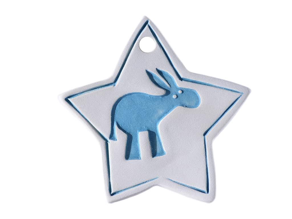 Decorazione in ceramica a stella per l'albero di Natale o per la casa realizzata a mano con stampiglio di asinelli. Pezzi unici. L'immagine del prodotto è puramente indicativa e i colori potrebbero variare. Diametro 7 cm circa.