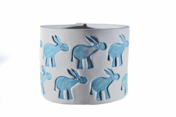 Ceramic hand-made vase with donkey stamps realized for Il Rifugio degli Asinelli