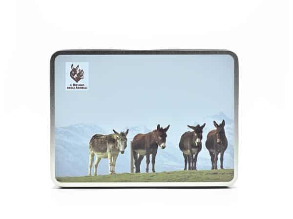 Rectangular tin box with donkey image and logo Il Rifugio degli Asinelli.