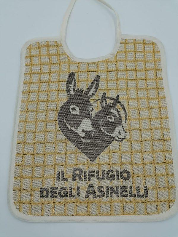 Canvas child's bib with natural dyeingand logo Il Rifugio degli Asinelli