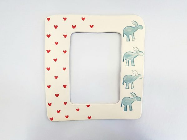 Hand-made ceramic photo frame with donkeys and heart patterns-size 20 x 18 cm circa