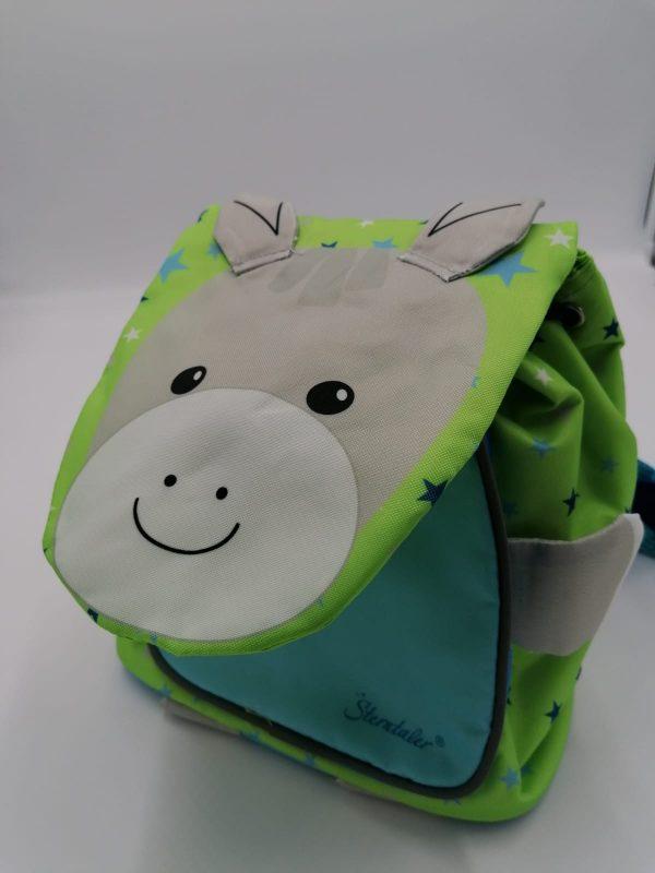 Zainetto verde e azzurro da bambino con asinello