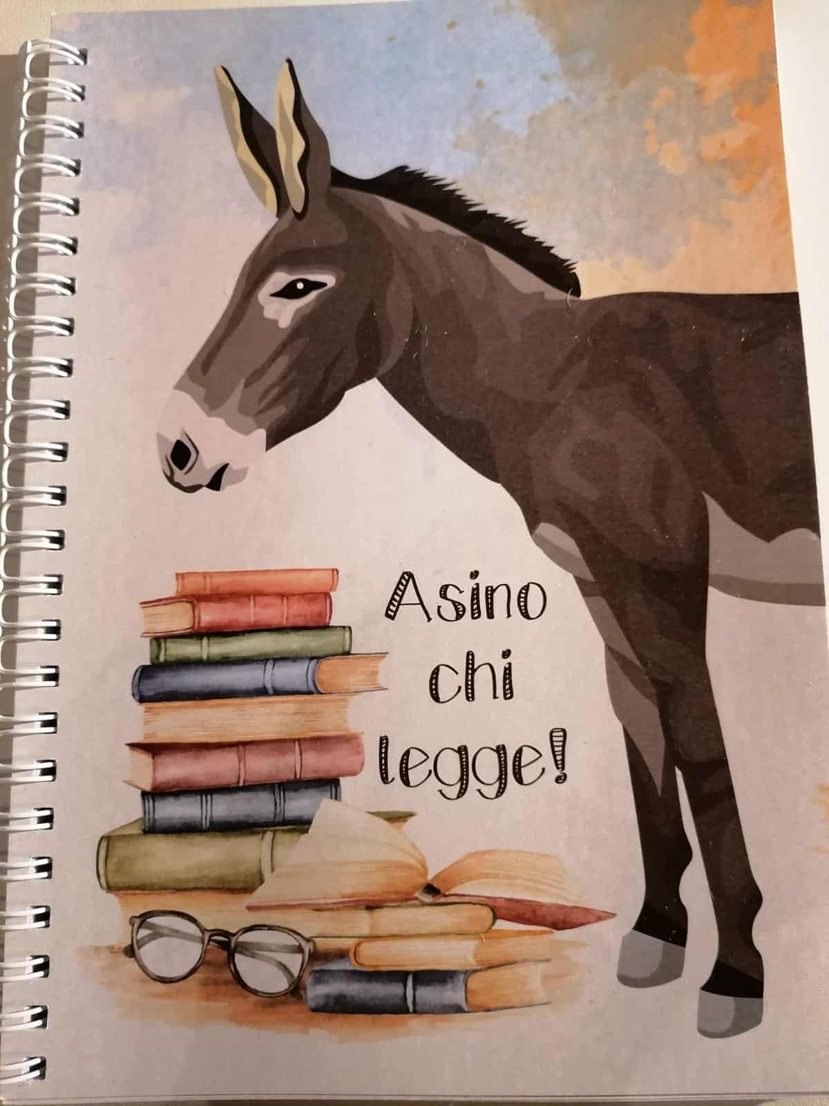"""Quaderno con disegno asinello e scritta """"Asino chi legge""""-interno a quadretti"""