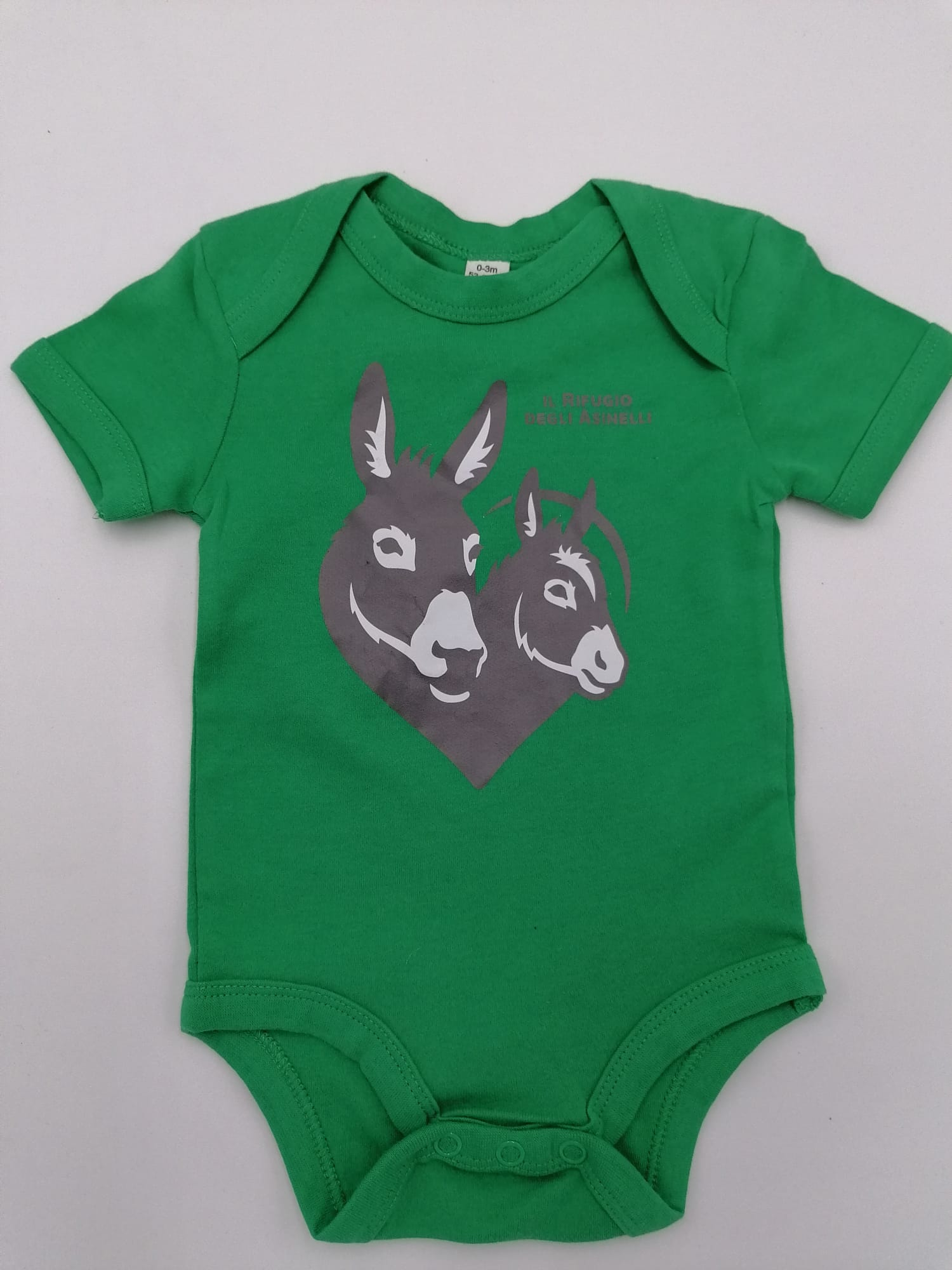 Body neonato in cotone equosolidale e stampa logo de Il Rifugio degli Asinelli