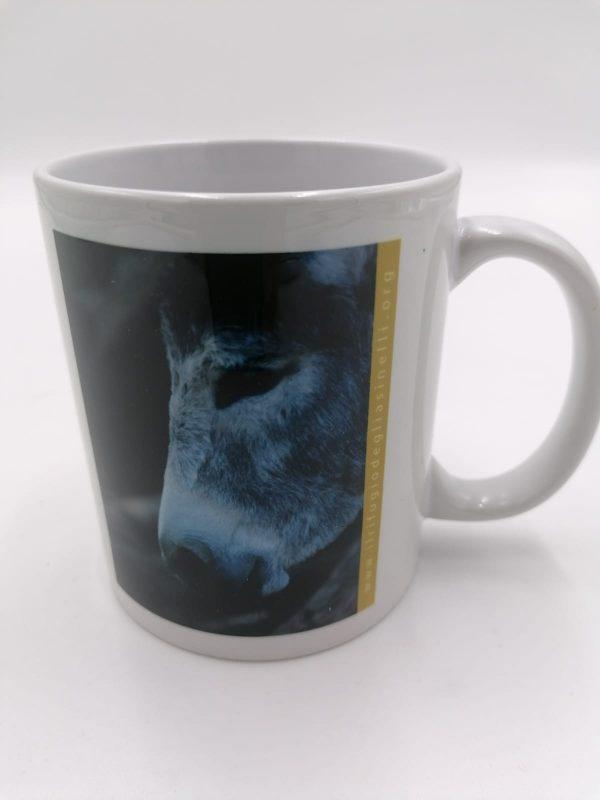 Tazza in ceramica con manico, immagine asinello Alin, ospite de Il Rifugio degli Asinelli ONLUS